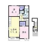 (内観/間取り1)霧島市 賃貸アパート 2LDK 家賃46
